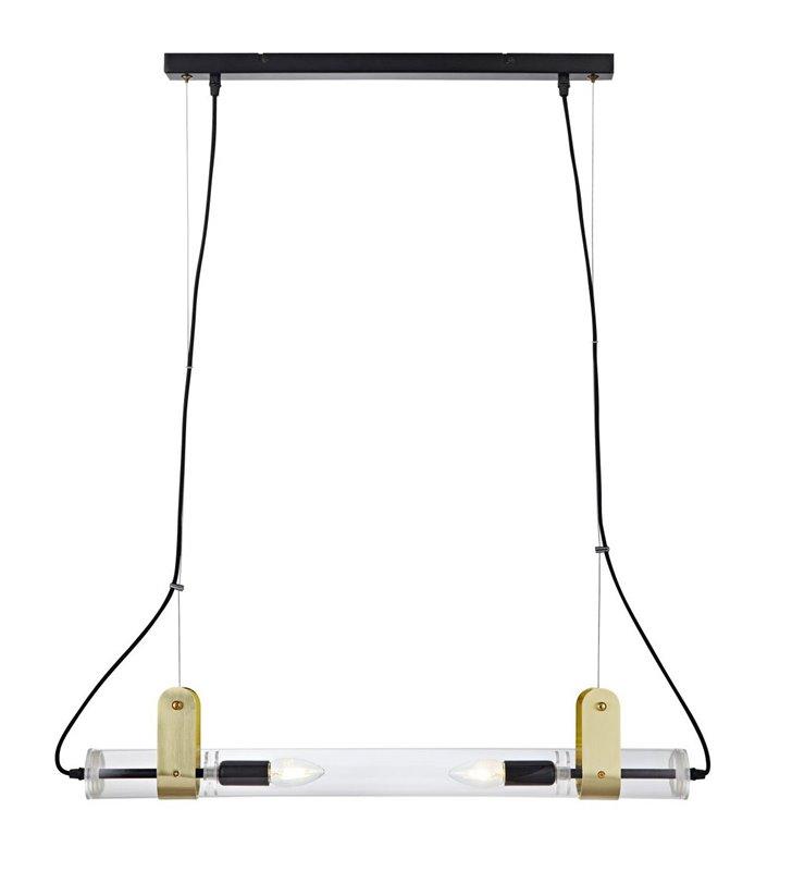 Designerska podłużna lampa wisząca Winston projektu Joakim Thedin szklana tuba nad stół wyspę kuchenną do małego biura