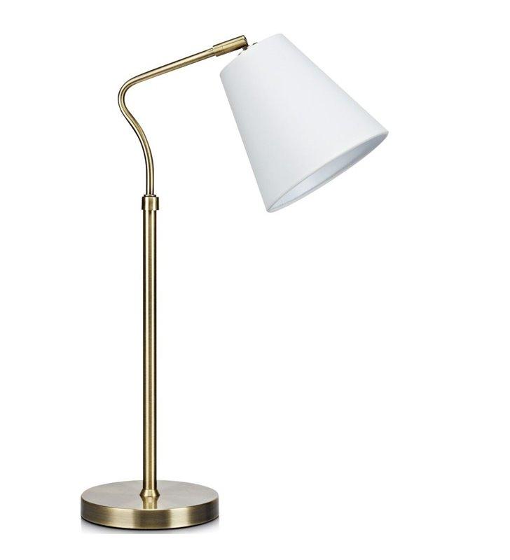 Patynowa lampa stołowa z białym abażurem Tindra włącznik na przewodzie