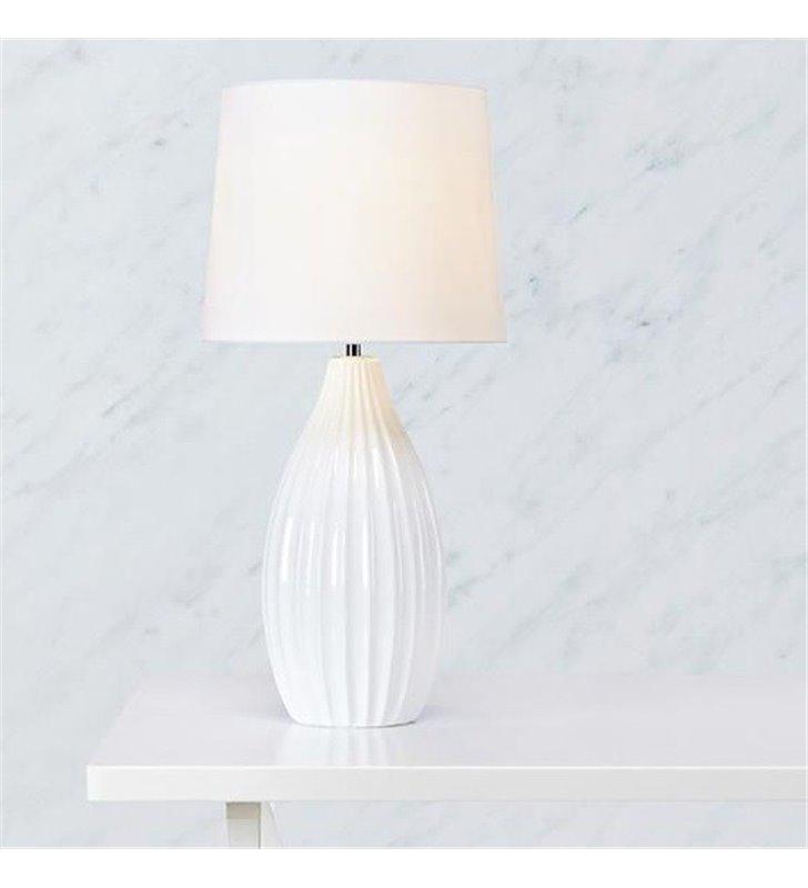 Lampa nocna stołowa Stephanie biała abażur podstawa z ceramiki