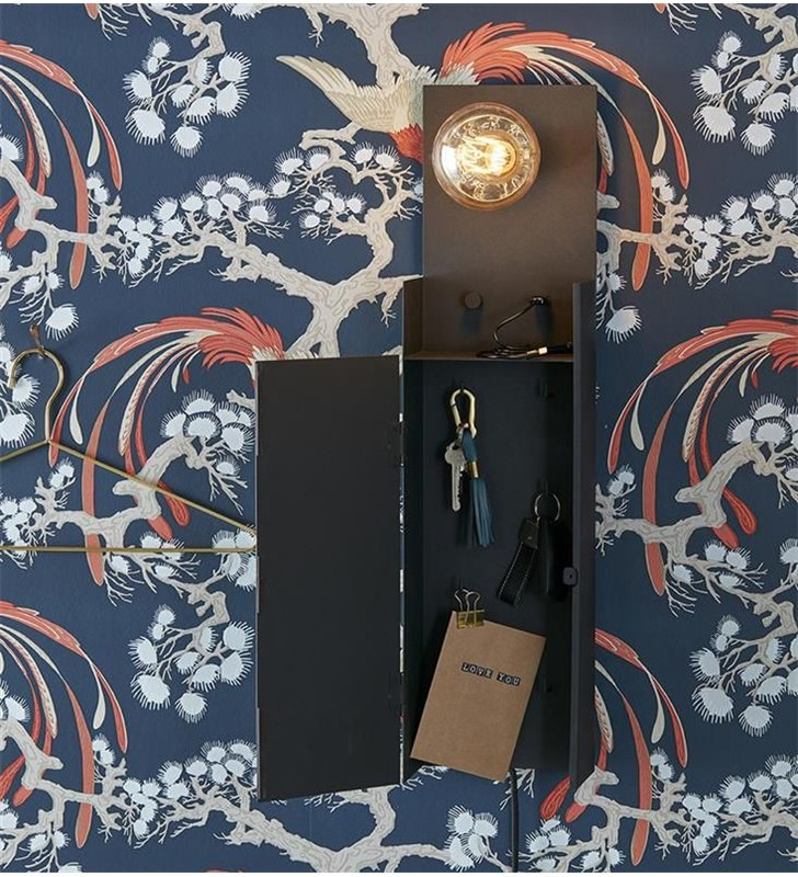 Kinkiet Combo z szafką na klucze gniazdo USB ściemniacz idealny na przedpokój kolor czarny