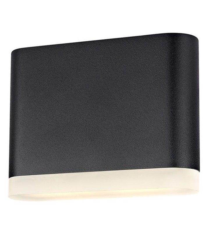 Mała lampa ścienna do ogrodu Uno LED czarna prostokątna świeci w dół