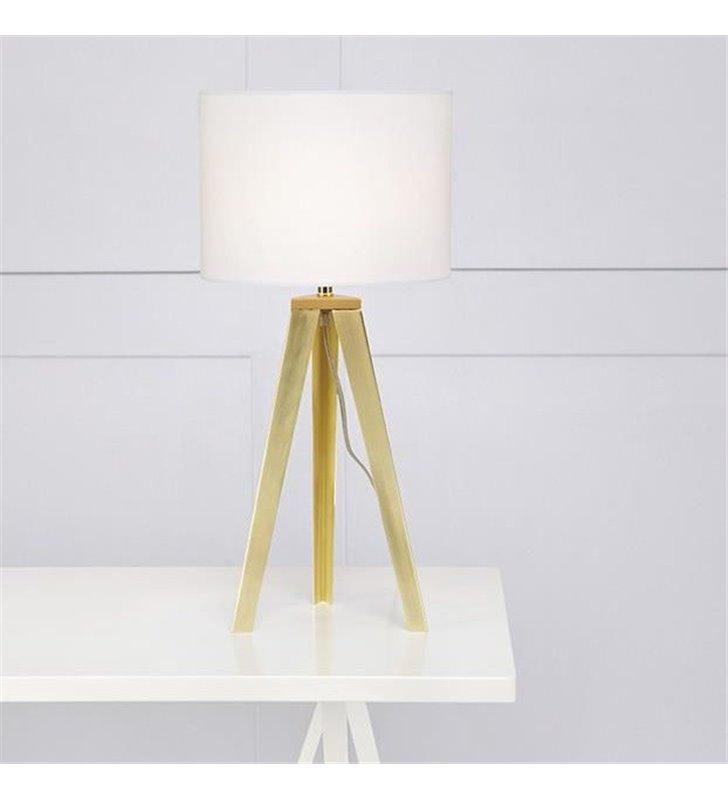 Elegancka lampa stołowa na 3 metalowych nogach w kolorze mosiądzu Fiori biały abażur