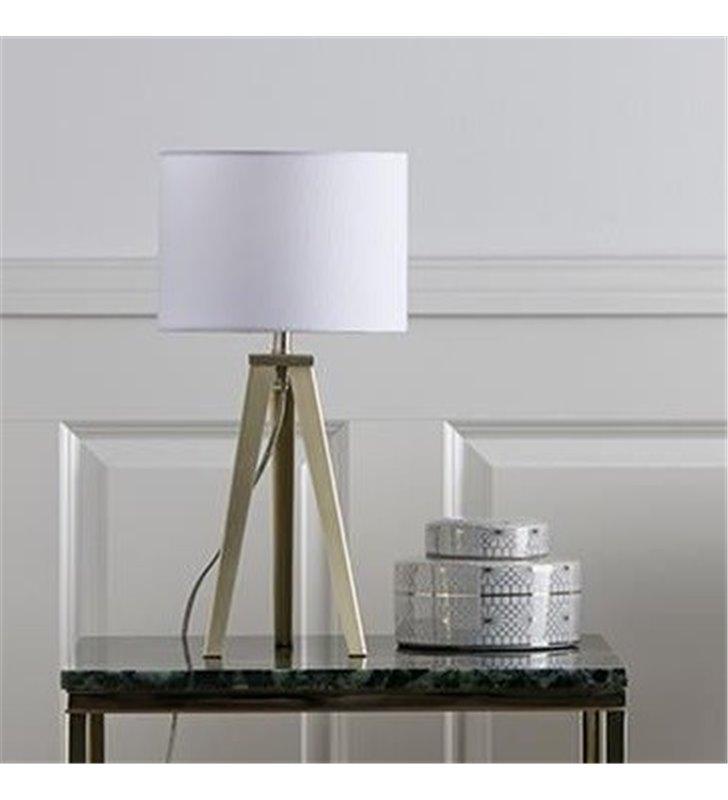 Lampa stołowa Fiori trójnóg w kolorze mosiądzu biały abażur