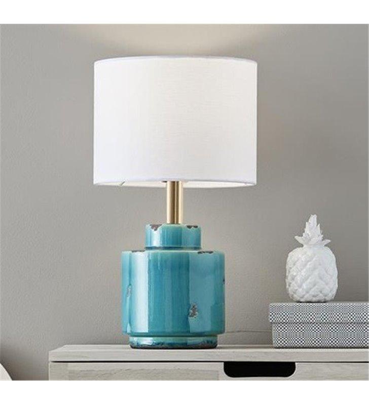 Lampa stołowa Cous niebieska postarzana podstawa z ceramiki biały tekstylny abażur styl vintage - OD RĘKI