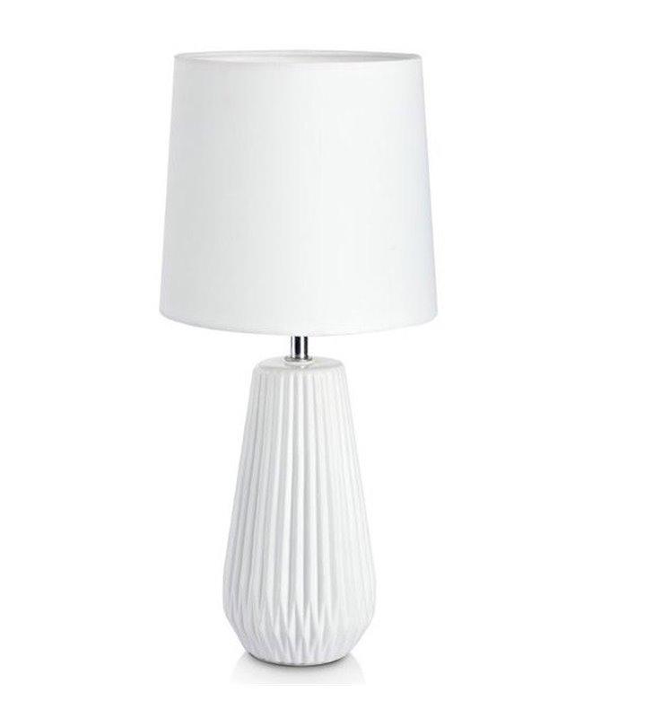 Lampa stołowa Nicci biała podstawa z ceramiki abażur tekstylny do salonu sypialni na komodę stolik nocny - OD RĘKI