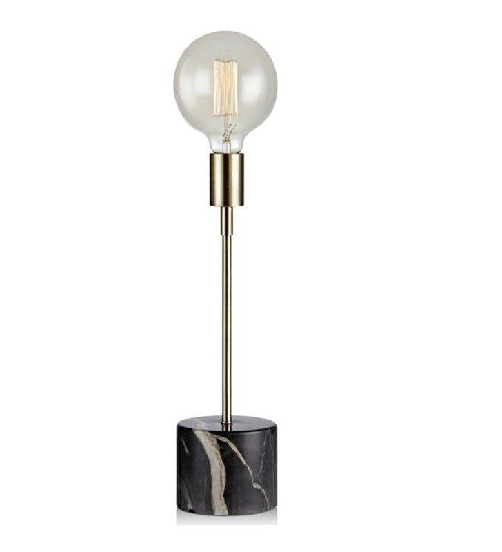 Lampa stołowa Round nowoczesna minimalistyczna czarna podstawa jak z marmuru