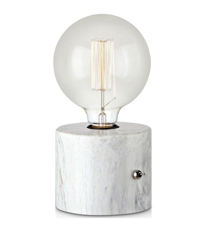 Minimalistyczna lampa stołowa Round mała podstawa jak z białego marmuru - DOSTĘPNA OD RĘKI