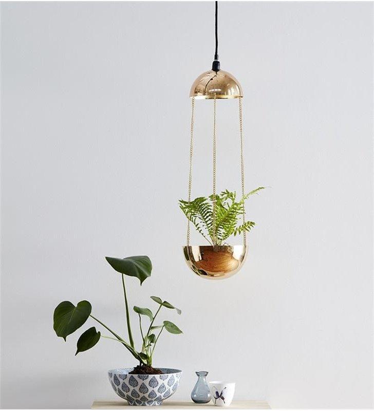 Złota oryginalna lampa wisząca Grow długa dekoracyjna