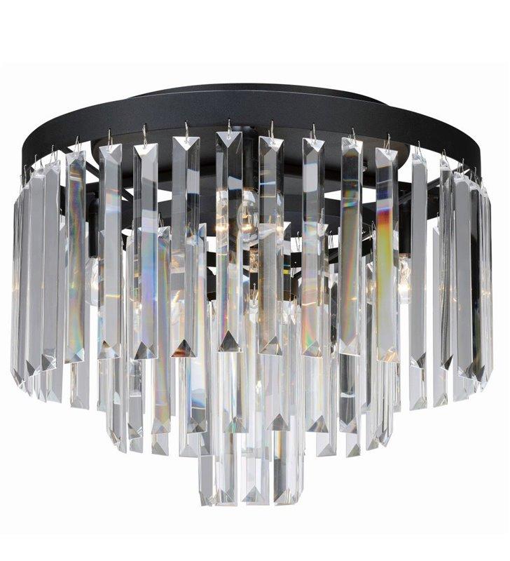 Kryształowy plafon Ventimiglia 420 czarny z podłużnymi bezbarwnymi kryształami