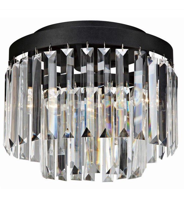 Plafon Ventimiglia 300 czarny z podłużnymi bezbarwnymi kryształami