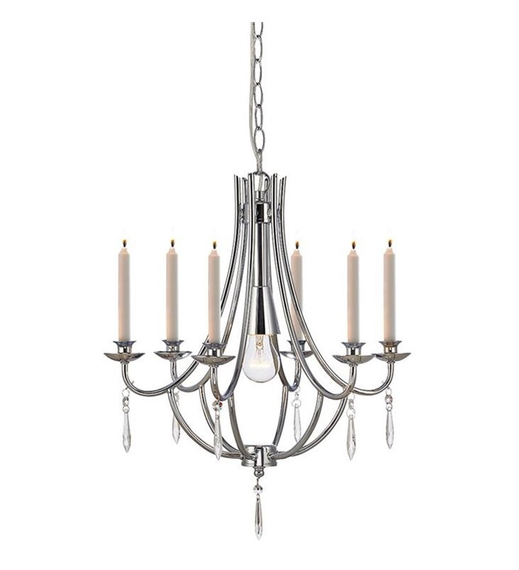 Tamara elegancki stylowy żyrandol ze świecami idealny nad stół do jadalni salonu sypialni ozdobiony kryształkami