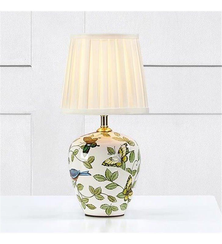 Lampa stołowa Mansion dekoracyjna ceramiczna podstawa w motyle tekstylny biały abażur