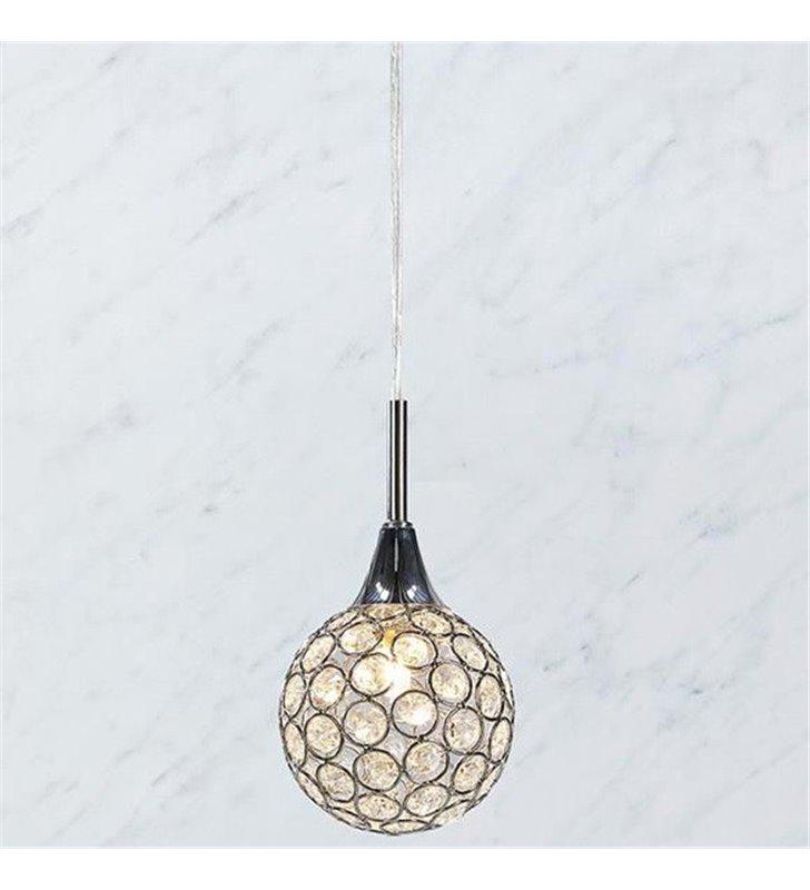 Kryształowa mała lampa wisząca Cora kula okrągłe kryształki