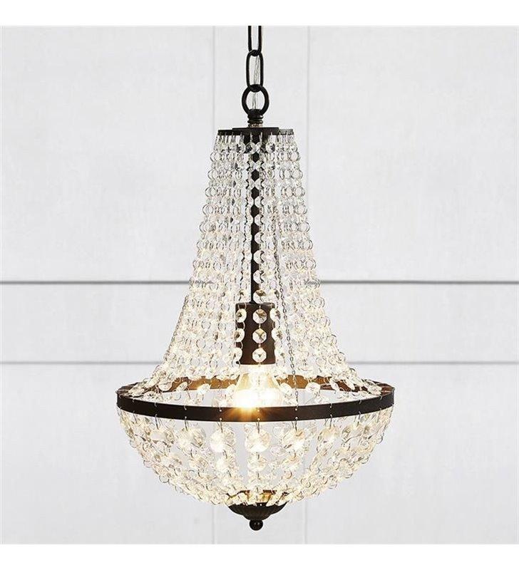 Kryształowy żyrandol lampa wisząca Granso czarne wykończenie bezbarwne okrągłe kryształki- OD RĘKI
