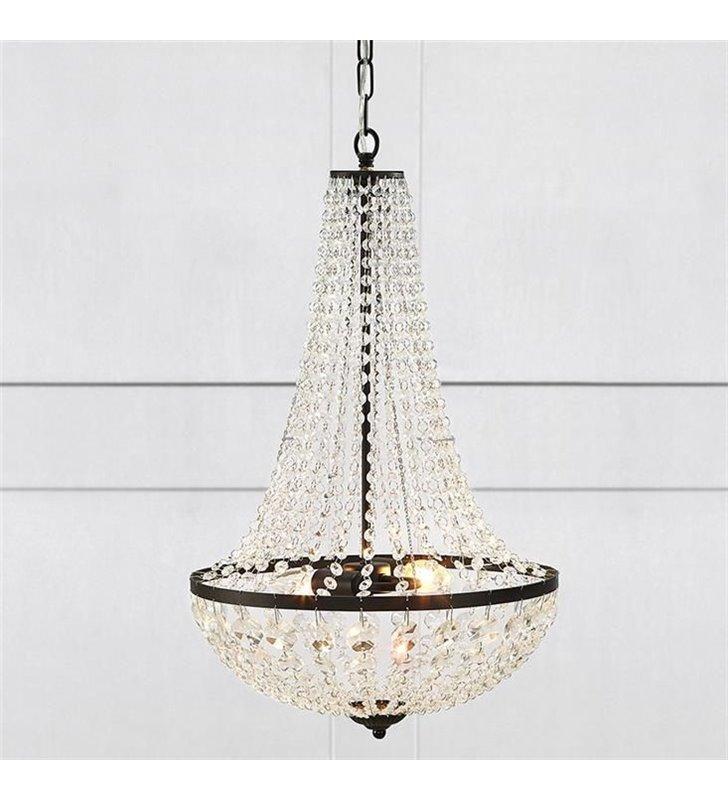 Granso kryształowy żyrandol lampa wisząca czarny z bezbarwnymi okrągłymi kryształkami do salonu jadalni sypialni- OD RĘKI