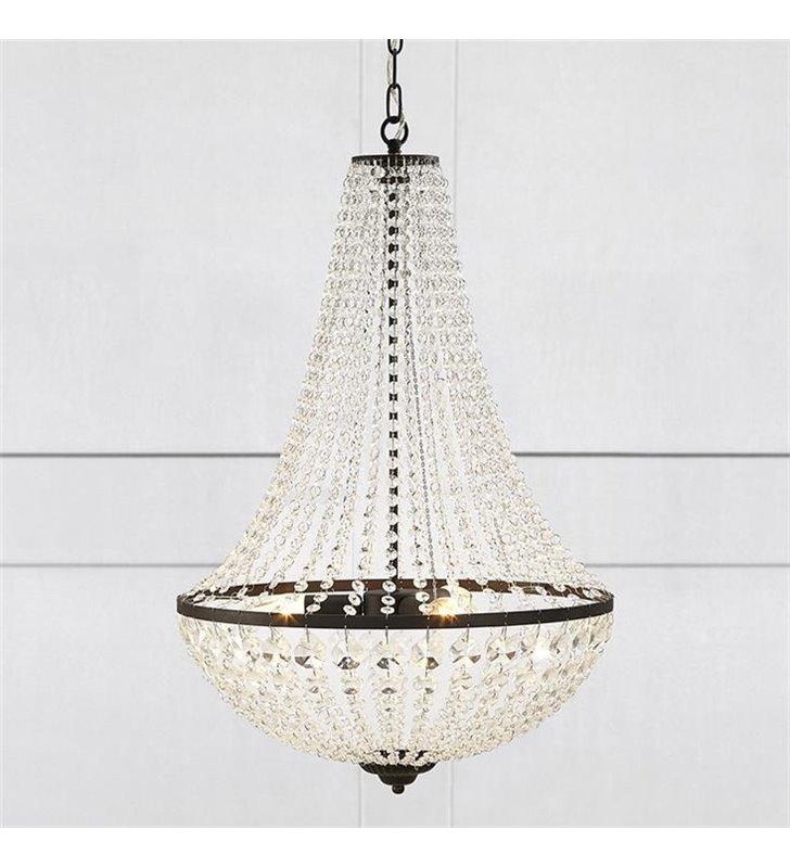 Żyrandol lampa wisząca Granso czarny transparentne kryształki do salonu jadalni nad stół sypialni