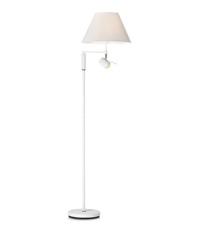 Biała funkcjonalna lampa podłogowa z dodatkowym punktem świetlnym do czytania Innocent 2 włączniki na lampie