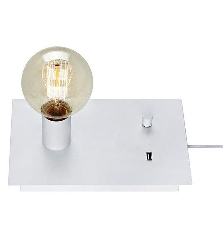 Prosta industrialna nowoczesna lampa stołowa Load z gniazdem USB biała bez klosza dekoracyjna żarówka