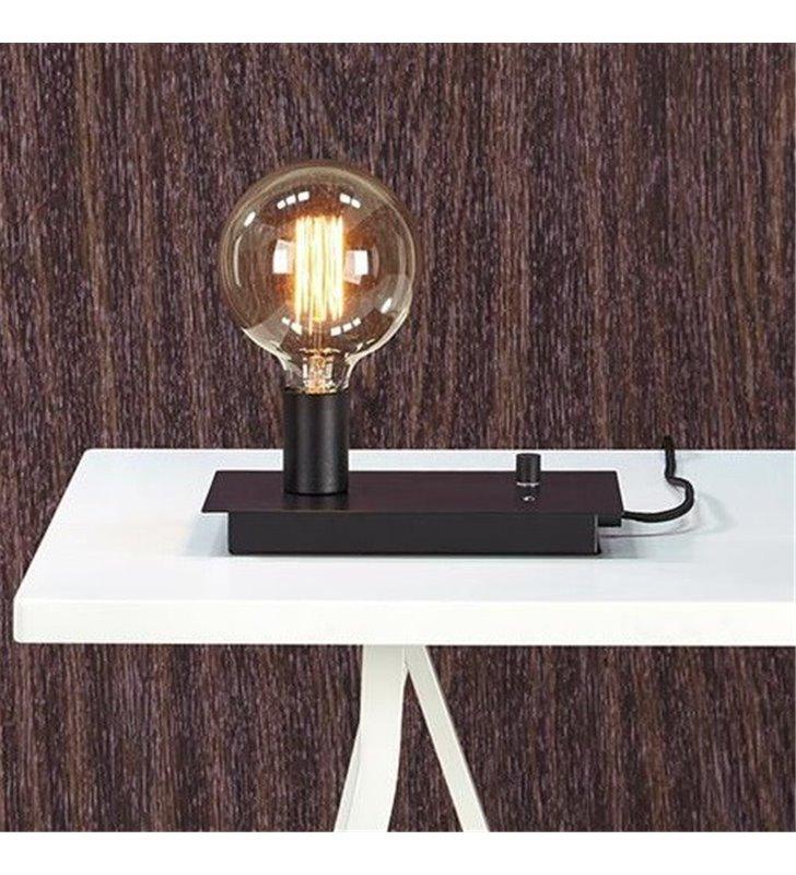 Industrialna nowoczesna czarna lampa stołowa Load z USB do ładowania telefonu dekoracyjna żarówka