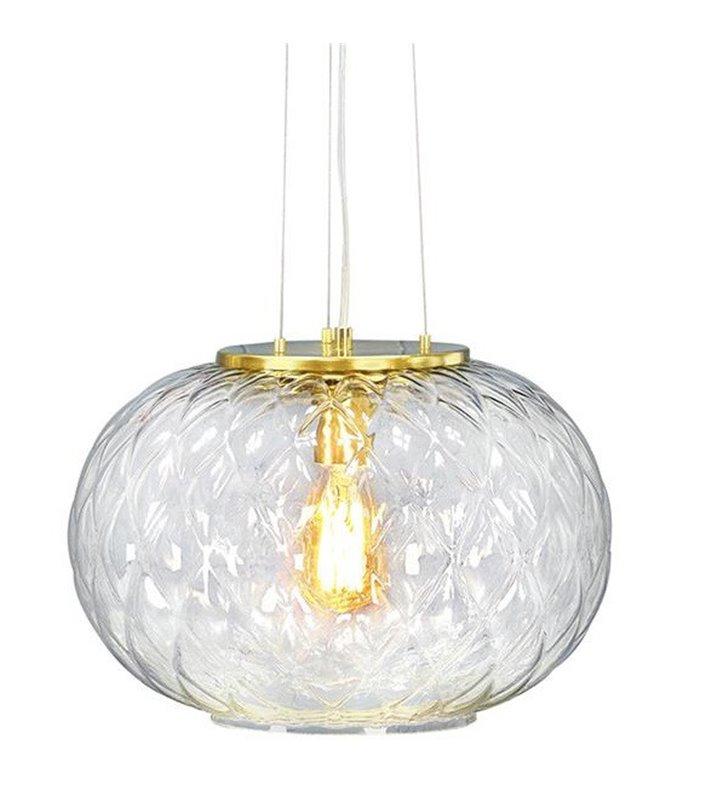 Lampa wisząca Boutique elegancka szklana z wykończeniem w kolorze mosiądzu do salonu sypialni kuchni jadalni