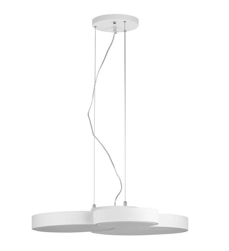 Biała nowoczesna lampa wisząca Larissa LED płaski klosz do salonu jadalni kuchni sypialni