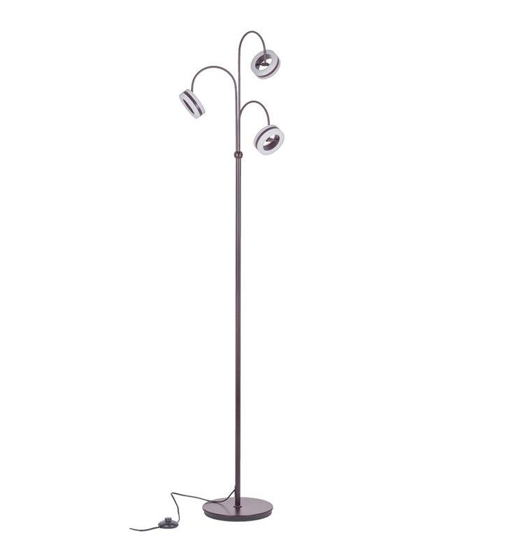 Nowoczesna brązowa 3 ramienna lampa podłogowa Metis LED