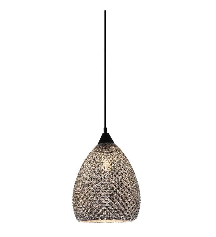 Saniya srebrna szklana lampa wisząca z czarnym wykończeniem