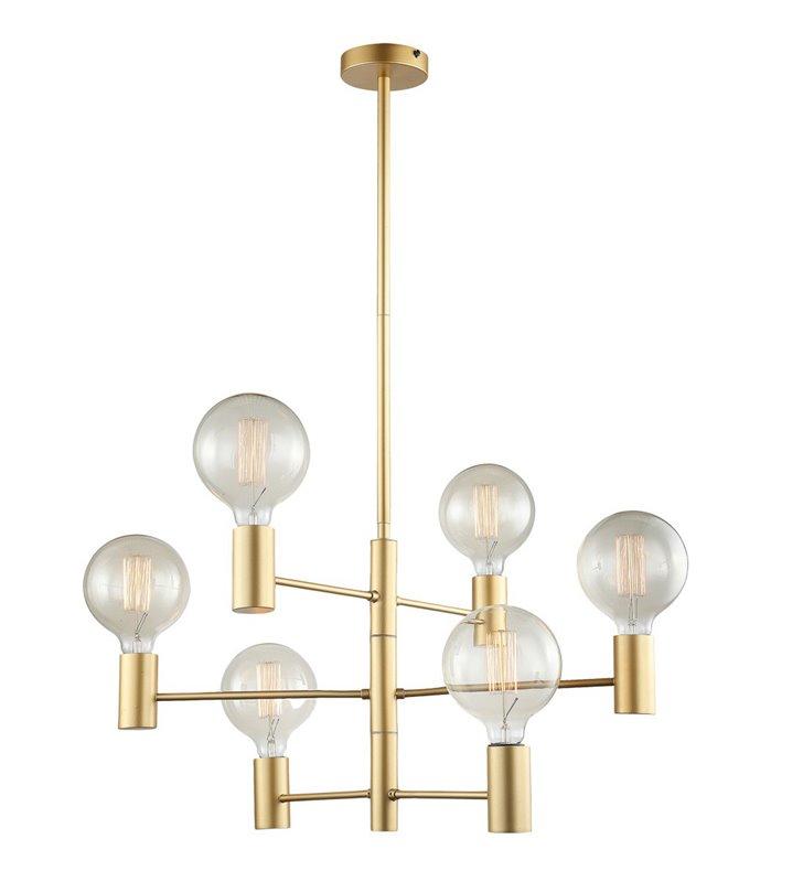 Nowoczesny minimalistyczny 6 punktowy żyrandol Veva w kolorze złotym do dekoracyjnych żarówek bez kloszy