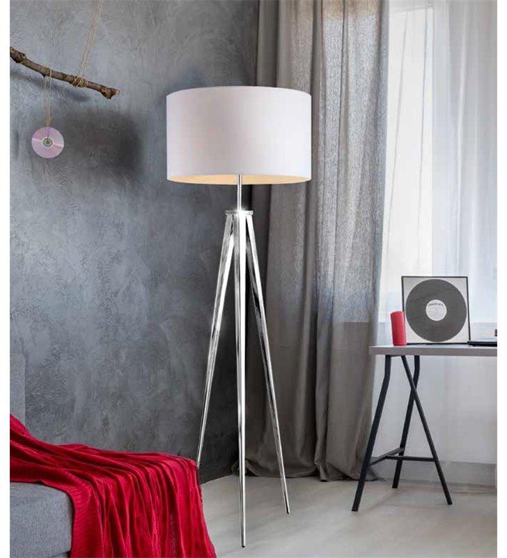 Lampa podłogowa Sintra biały abażur chromowany trójnóg styl nowoczesny