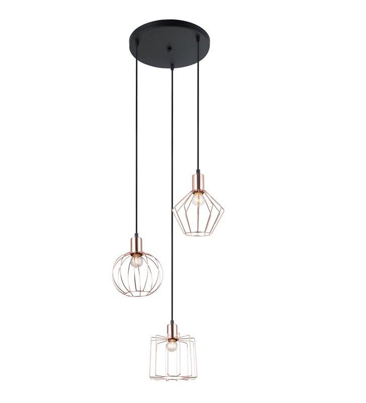 Potrójna lampa wisząca Gervais miedziane druciane klosze w różnych kształtach - DOSTĘPNA OD RĘKI
