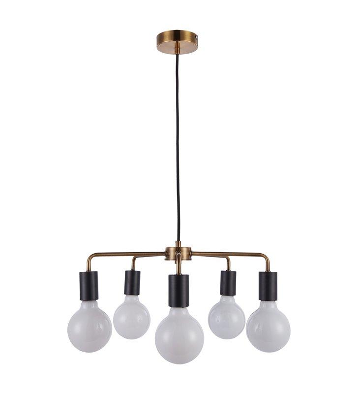 Żyrandol Irina czarno złoty loftowy minimalistyczny 5 żarówek bez kloszy do salonu jadalni sypialni