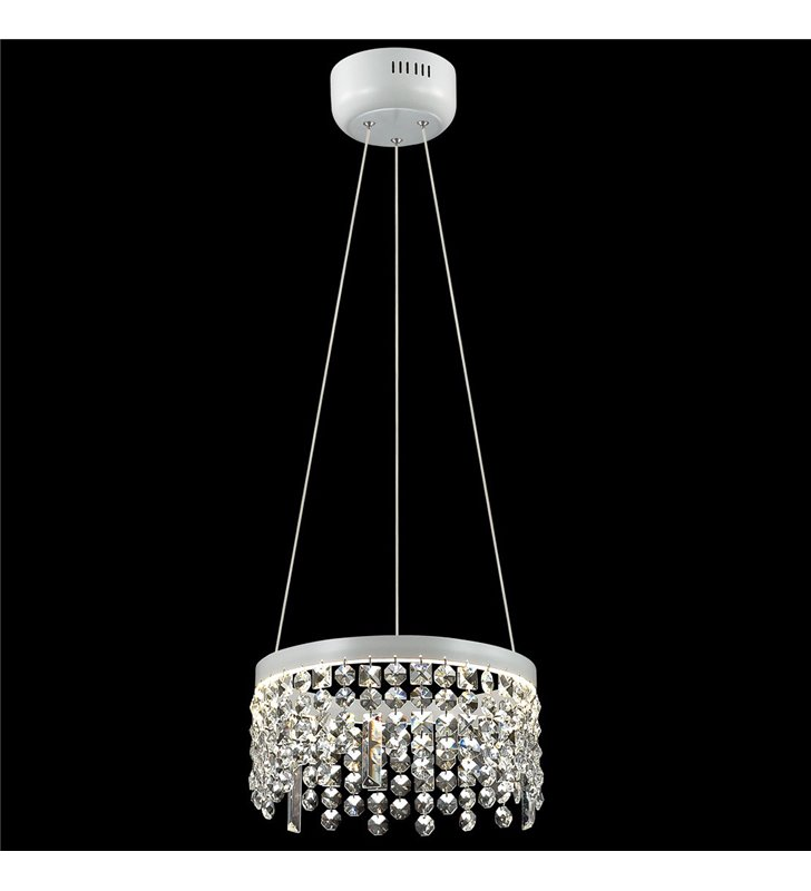Biała matowa lampa wisząca z bezbarwnymi kryształami Fiona