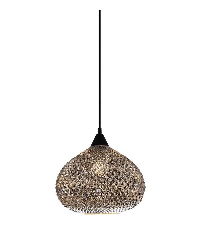 Lampa wisząca Lorean szklany pękaty chromowany klosz z czarnym przewodem