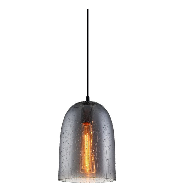 Szklana lampa wisząca Tabby dymiony klosz jak mokry kopuła do jadalni nad stół kuchni salonu sypialni