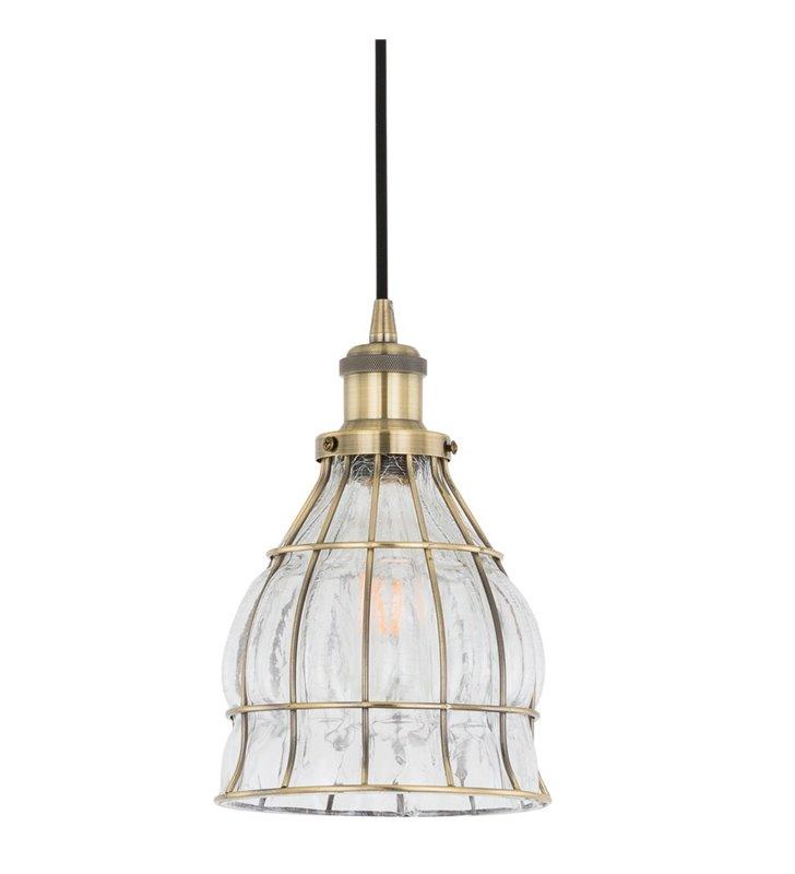Lampa wisząca Finter patyna ze szklanym kloszem