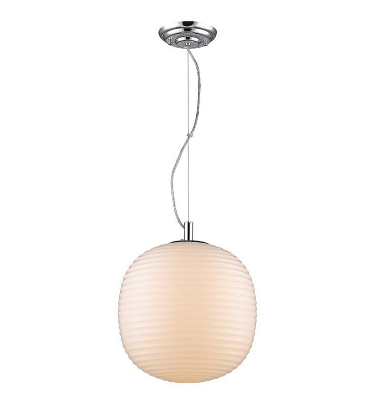 Lampa wisząca Dakota biała szklana dekorowany klosz o średnicy 29cm