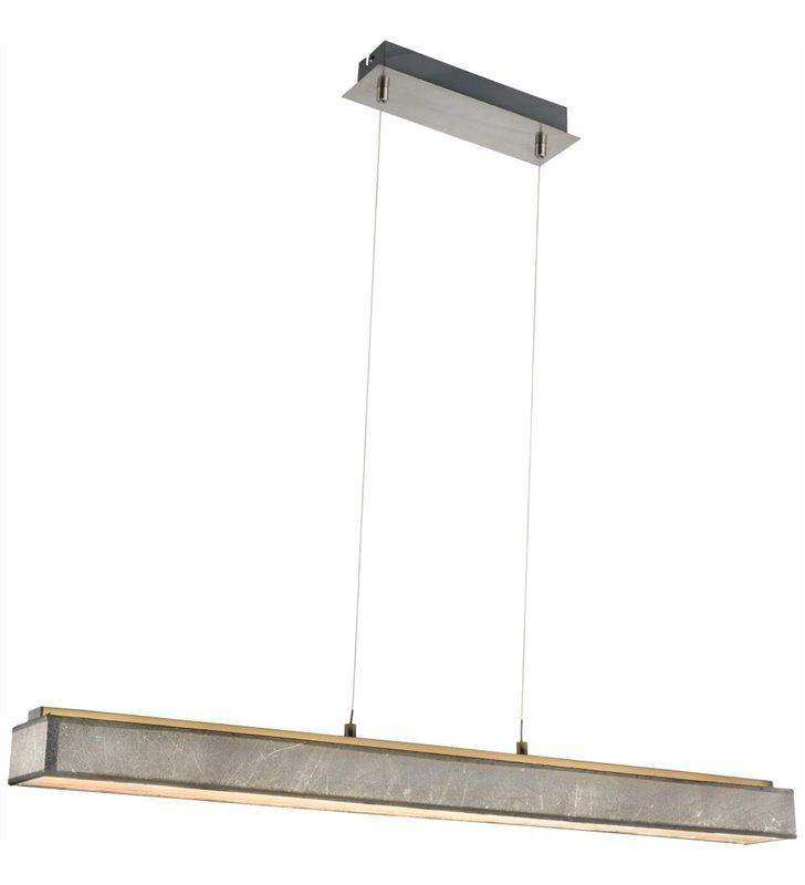 Srebrna podłużna prostokątna lampa wisząca Amy I LED do jadalni kuchni nad stół - OD RĘKI