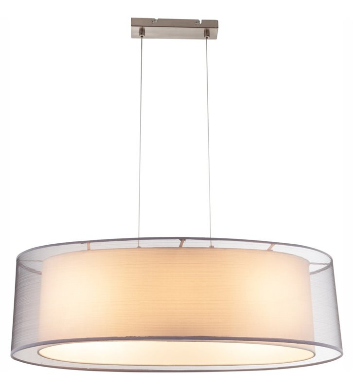 Lampa wisząca Theo abażur podwójny biały szary podłużna nad stół do kuchni lub jadalni do salonu sypialni