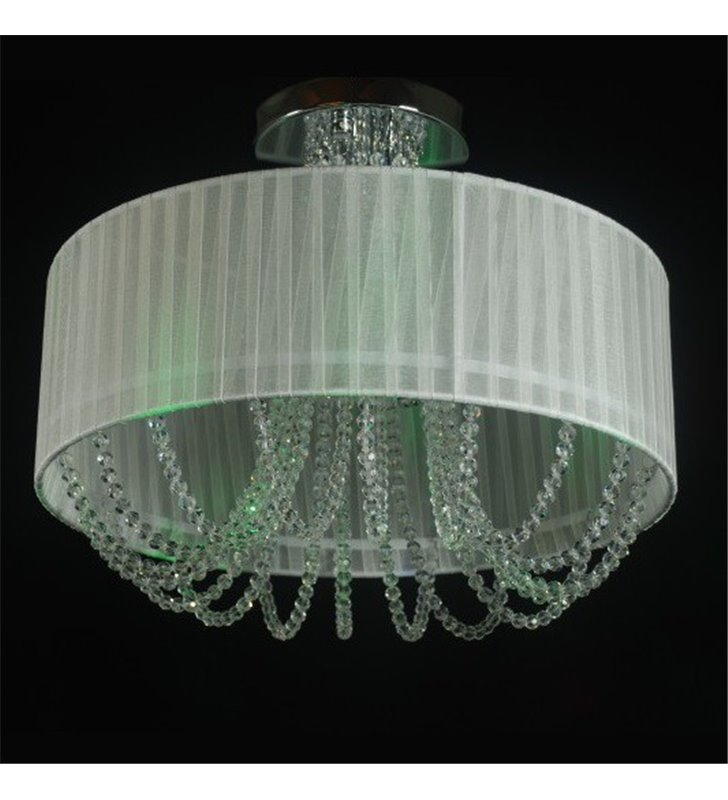 Lampa sufitowa Lena biały tekstylny abażur z ozdobnymi kryształami 6 żarówek elegancka - OD RĘKI