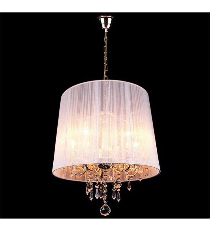 Lampa wisząca Izabel kryształy biały abażur złote wykończenie