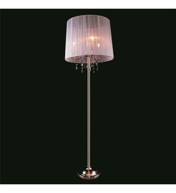 Złota dekoracyjna potrójna lampa podłogowa z kryształami Izabel biały abażur