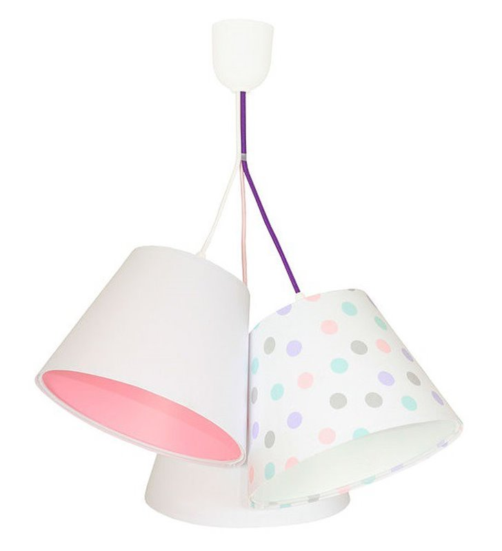 Kolorowa wisząca lampa dziecięca Pastelowe Grochy 3 abażury z tkaniny