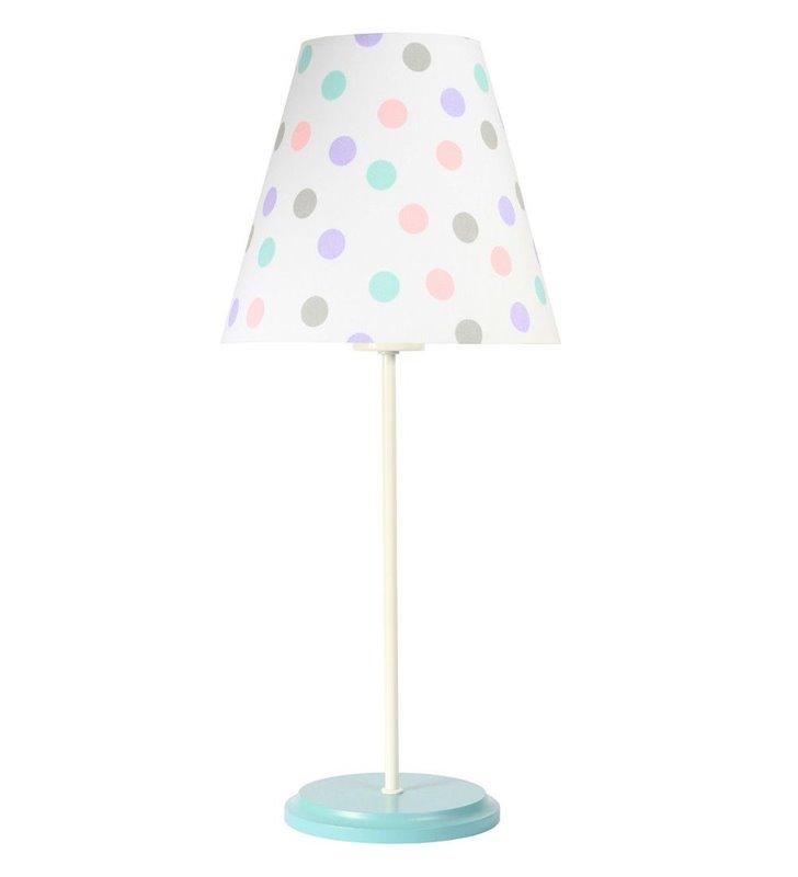 Jasna pastelowa dziecięca lampa stołowa Pastelowe Grochy podstawa biało seledynowa
