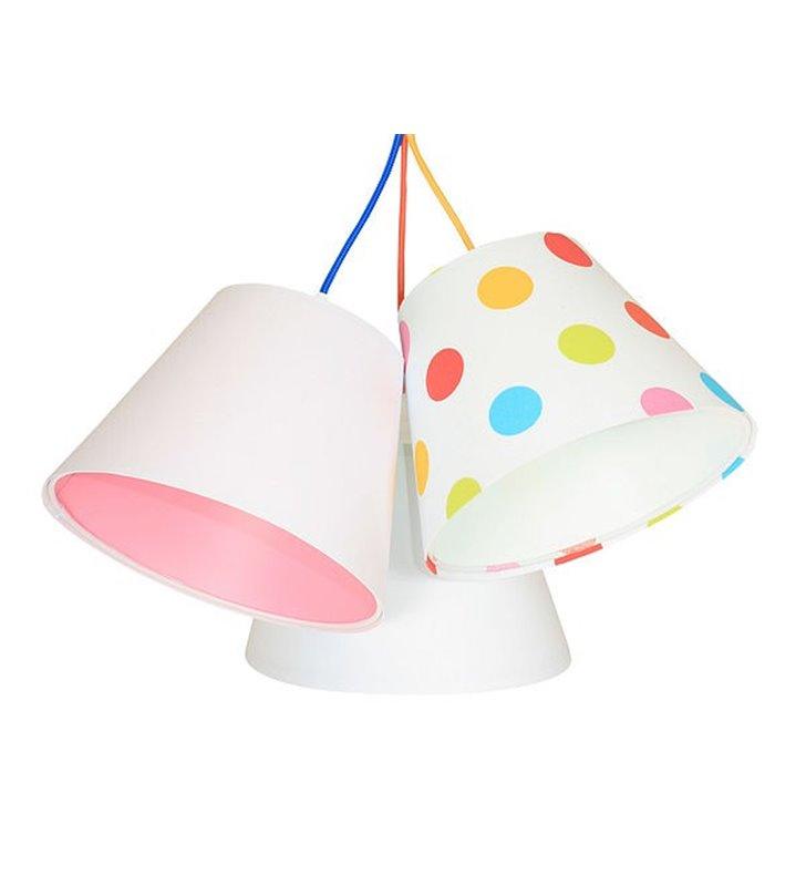 Lampa dziewczęca 3 materiałowe abażury Kolorowe Grochy wielobarwna dziecięca