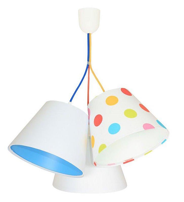 Kolorowe Grochy lampa wisząca do pokoju dziecka 3 tekstylne abażury multikolor
