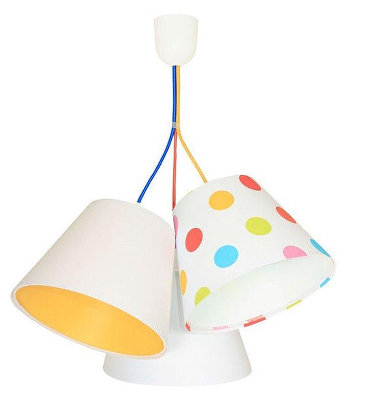Wisząca kolorowa lampa dziecięca Kolorowe Grochy 3 tekstylne abażury