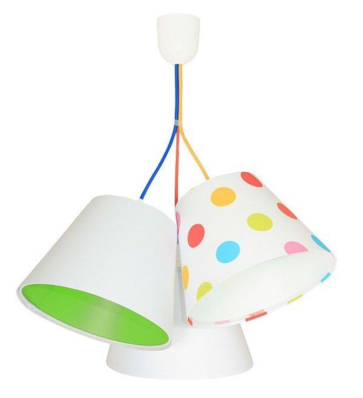 Kolorowa dziecięca lampa wisząca Kolorowe Grochy z 3 abażurami dla chłopca i dziewczynki