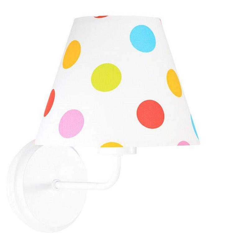 Kinkiet dziecięcy Kolorowe Grochy biały abażur materiałowy w kolorowe groszki