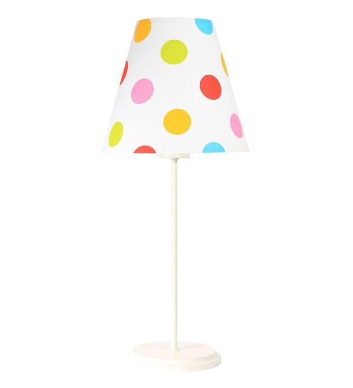 Dziecięca lampka nocna Kolorowe Grochy biała podstawa abażur biały w kolorowe groszki