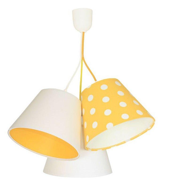 Lampa wisząca Sunflower 3 materiałowe abażury żółto biała dziecięca